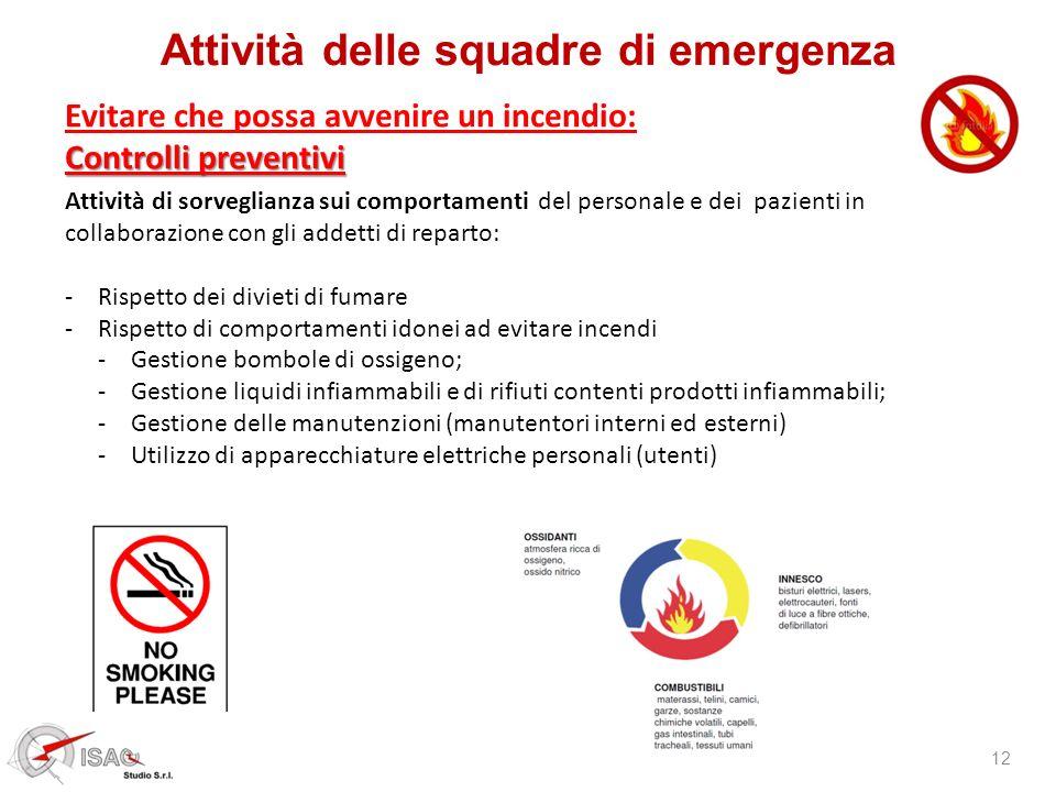 Attività delle squadre di emergenza