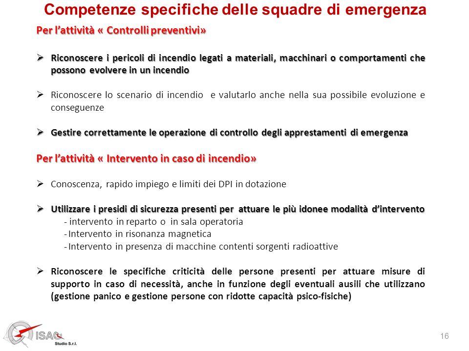 Competenze specifiche delle squadre di emergenza