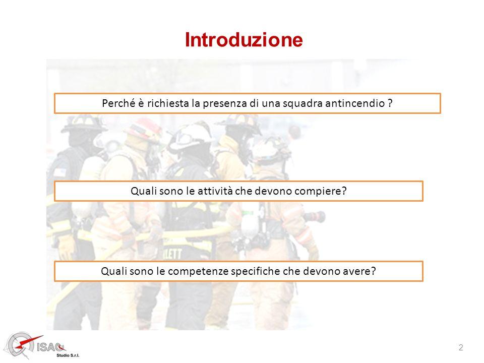 Introduzione Perché è richiesta la presenza di una squadra antincendio Quali sono le attività che devono compiere