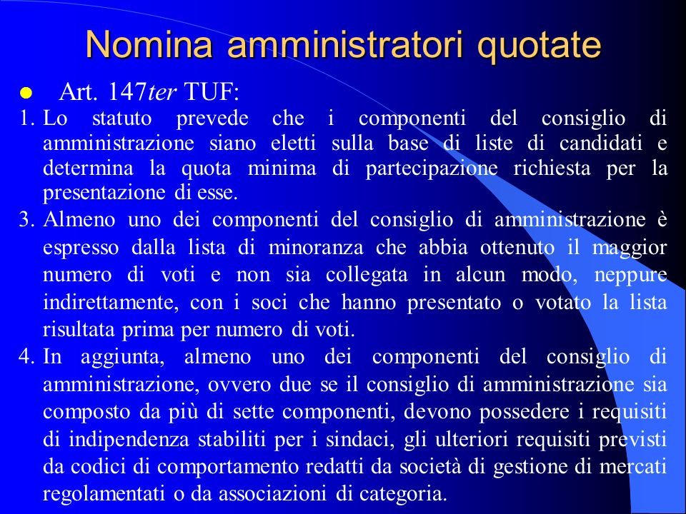 Nomina amministratori quotate