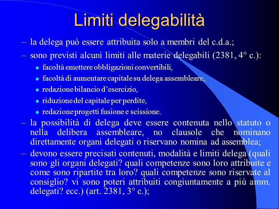 23/04/2017 Limiti delegabilità. la delega può essere attribuita solo a membri del c.d.a.;