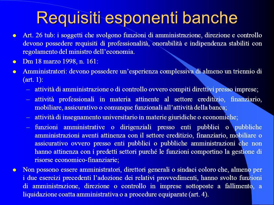 Requisiti esponenti banche