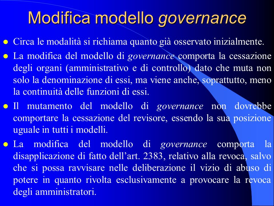 Modifica modello governance