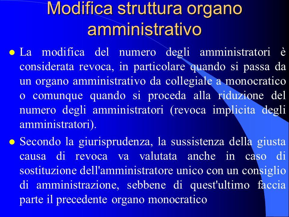Modifica struttura organo amministrativo