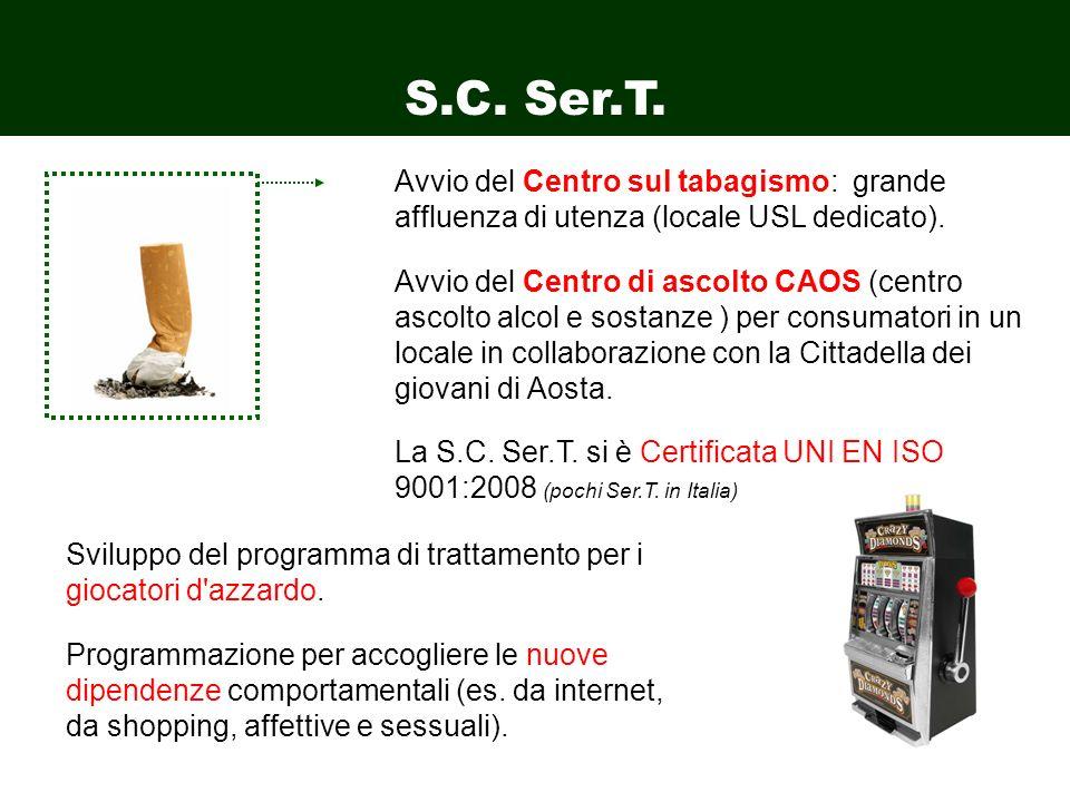 S.C. Ser.T. Avvio del Centro sul tabagismo: grande affluenza di utenza (locale USL dedicato).