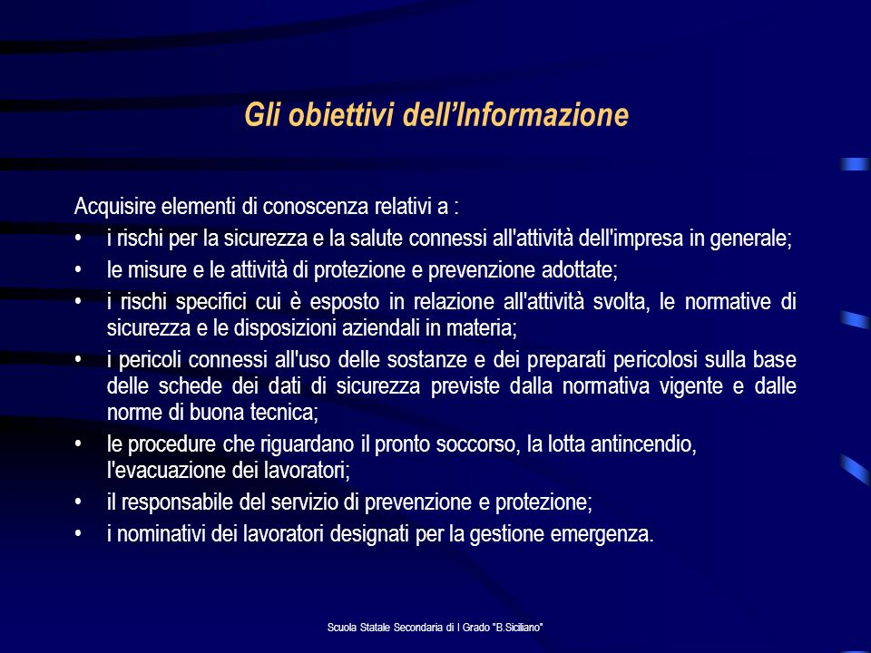 Gli obiettivi dell'Informazione