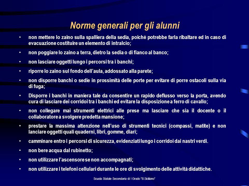 Norme generali per gli alunni