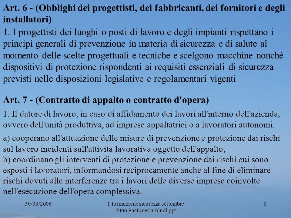1 formazione sicurezza settembre 2006 Pasticceria Bindi.ppt