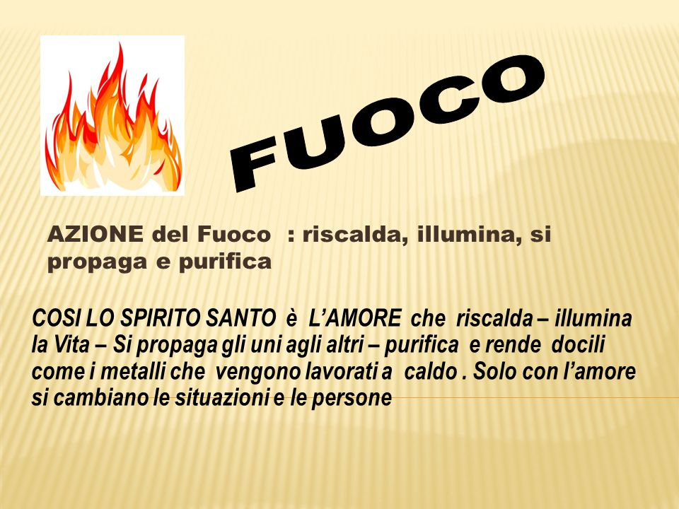 FUOCO AZIONE del Fuoco : riscalda, illumina, si propaga e purifica.
