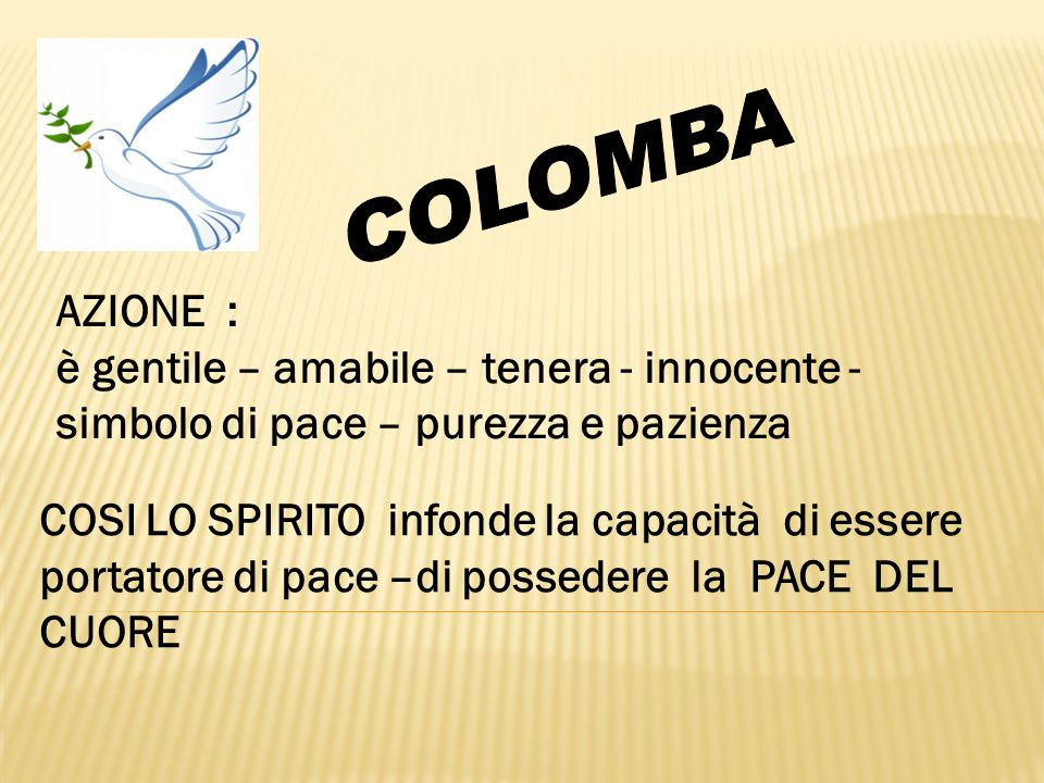 COLOMBA AZIONE : è gentile – amabile – tenera - innocente - simbolo di pace – purezza e pazienza.