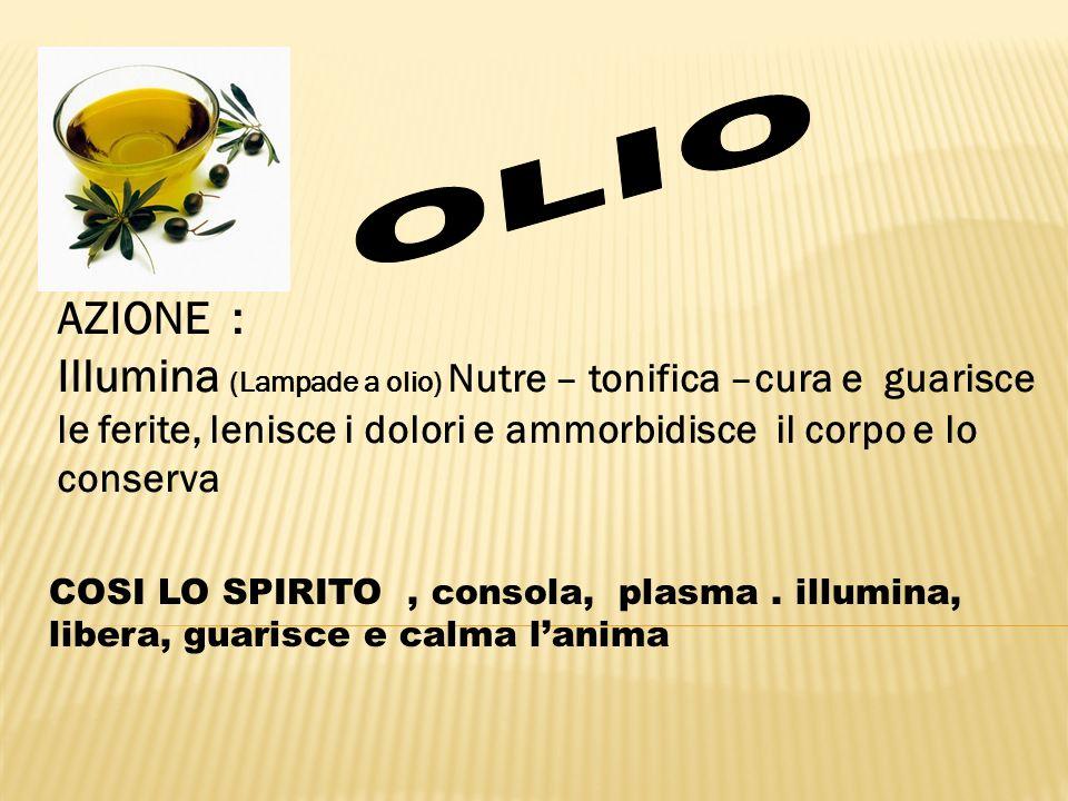 OLIO AZIONE : Illumina (Lampade a olio) Nutre – tonifica –cura e guarisce le ferite, lenisce i dolori e ammorbidisce il corpo e lo conserva.