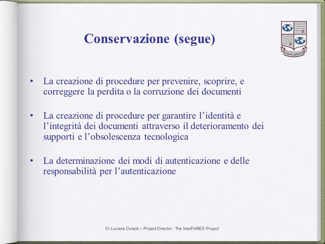 Conservazione (segue)