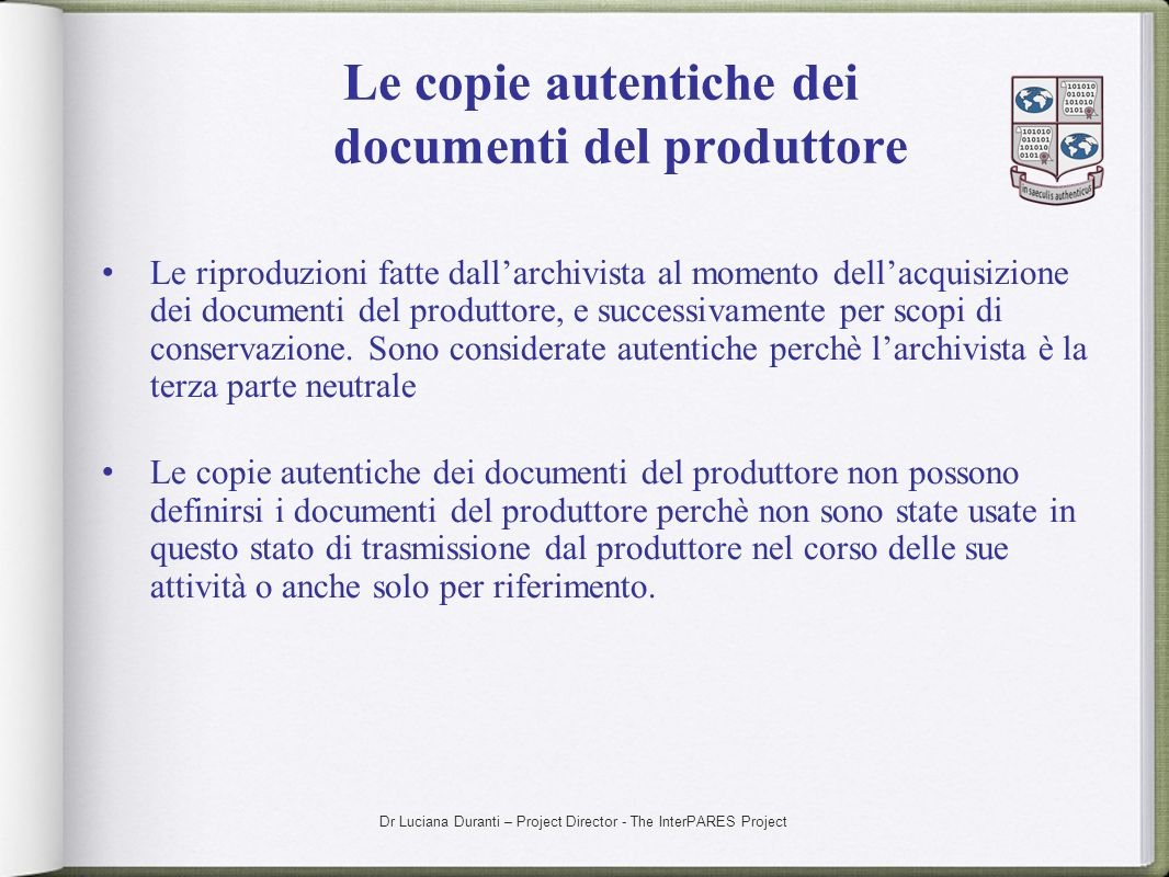 Le copie autentiche dei documenti del produttore