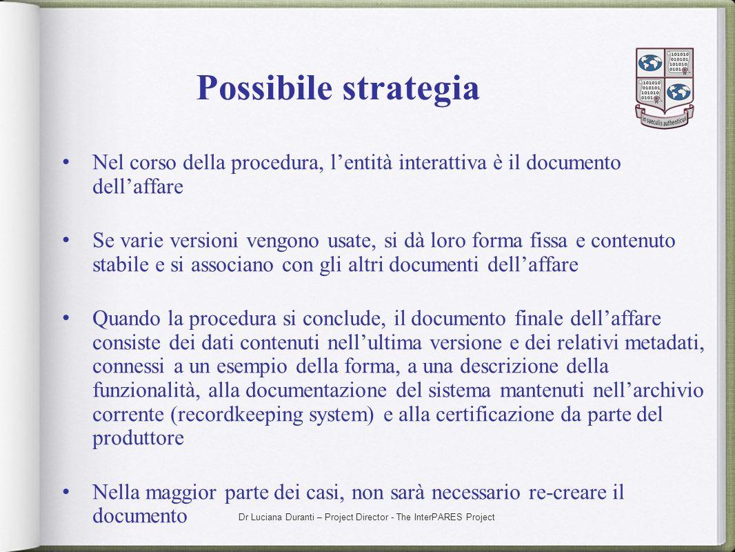 Possibile strategiaNel corso della procedura, l'entità interattiva è il documento dell'affare.