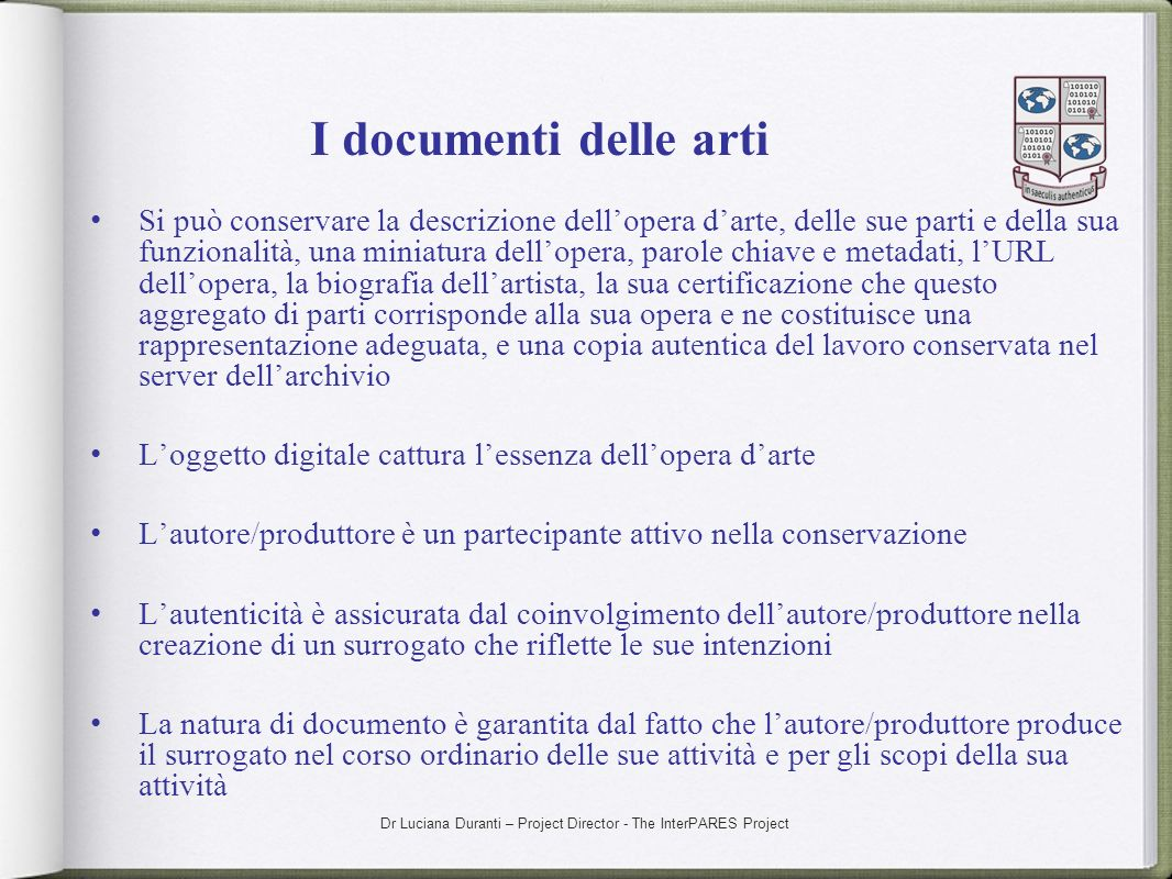I documenti delle arti