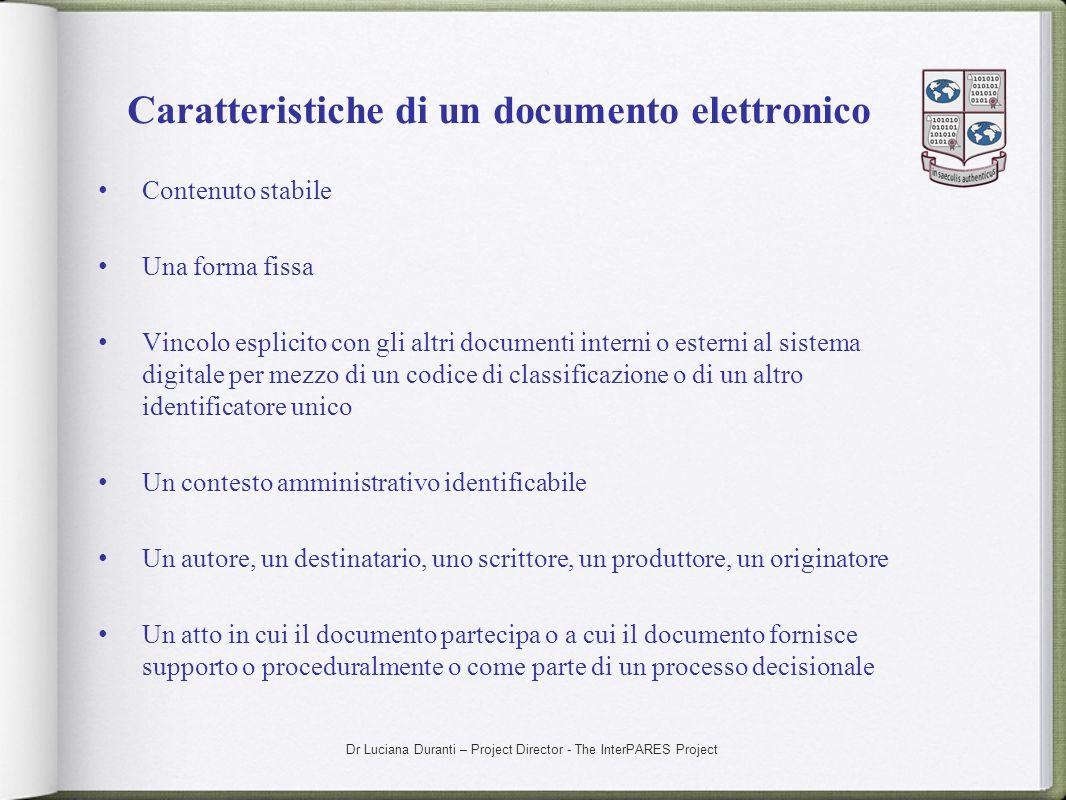 Caratteristiche di un documento elettronico
