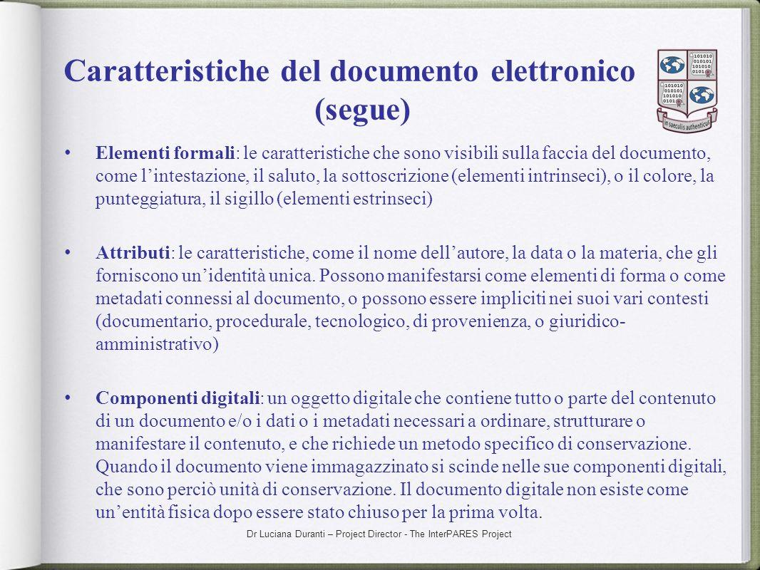 Caratteristiche del documento elettronico (segue)