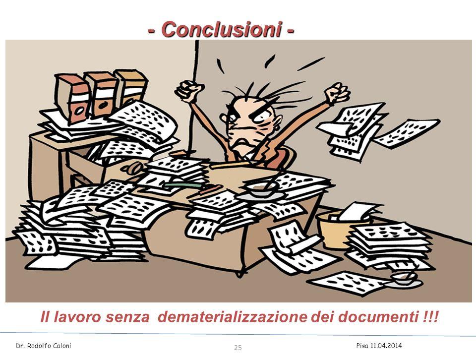 - Conclusioni - Il lavoro senza dematerializzazione dei documenti !!!