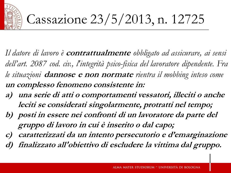 Cassazione 23/5/2013, n. 12725