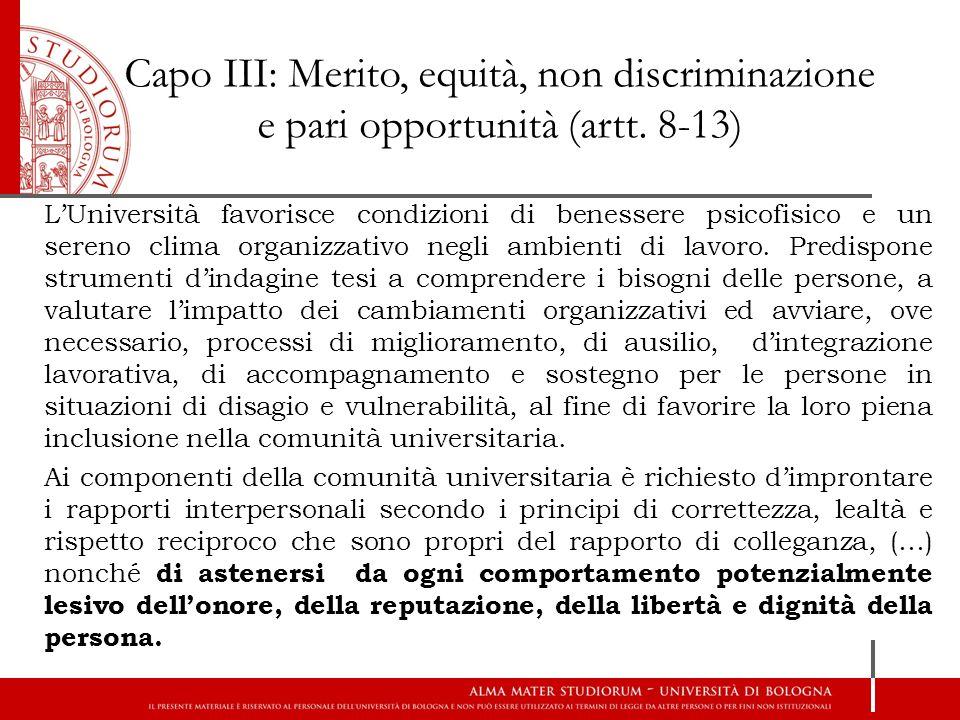 Capo III: Merito, equità, non discriminazione e pari opportunità (artt