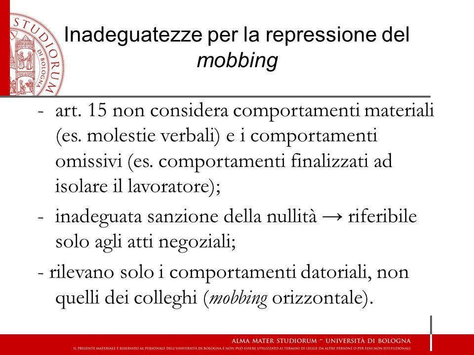 Inadeguatezze per la repressione del mobbing