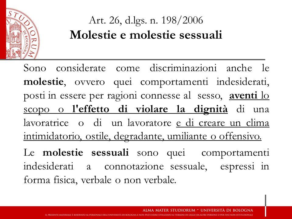 Art. 26, d.lgs. n. 198/2006 Molestie e molestie sessuali
