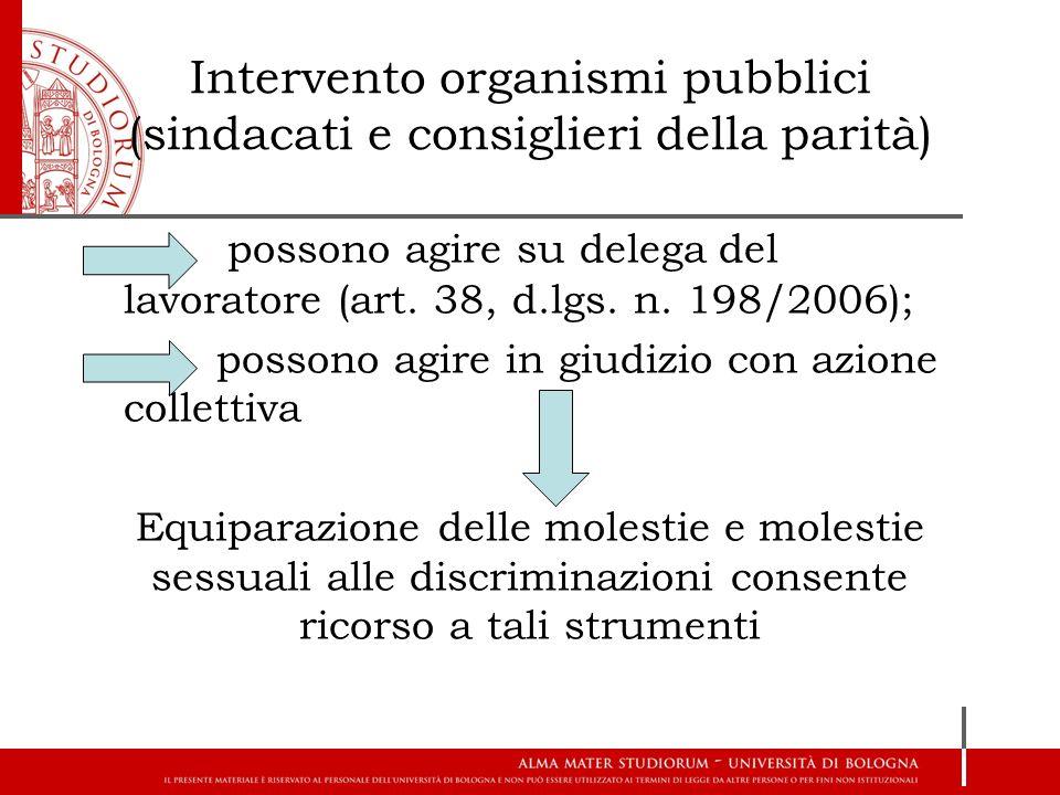 Intervento organismi pubblici (sindacati e consiglieri della parità)