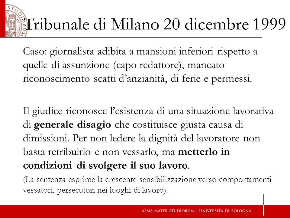 Tribunale di Milano 20 dicembre 1999