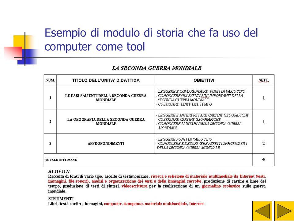 Esempio di modulo di storia che fa uso del computer come tool