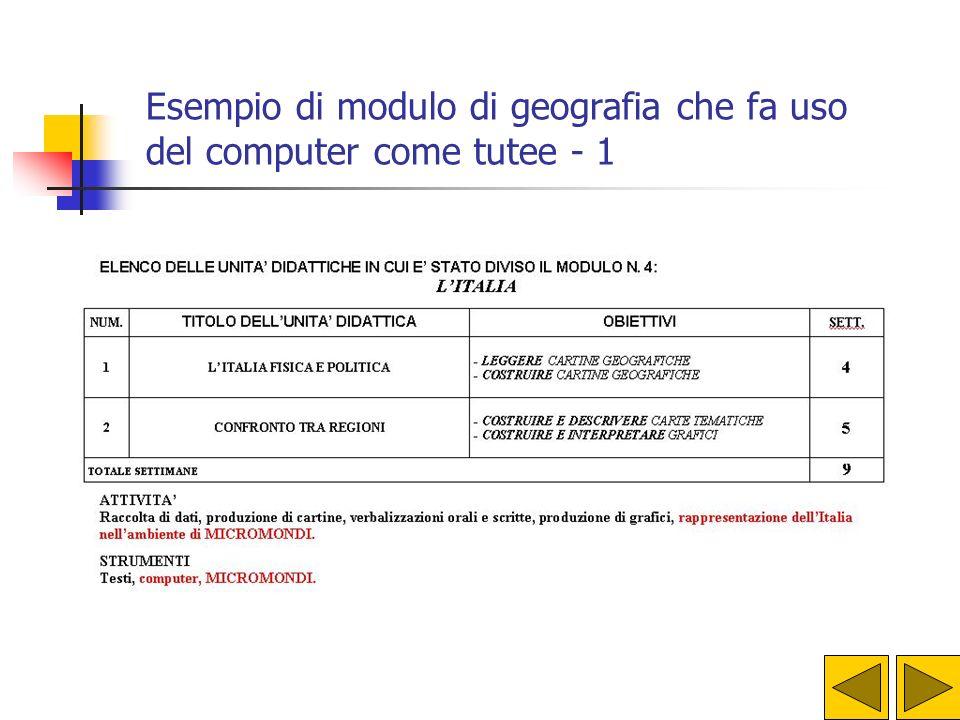 Esempio di modulo di geografia che fa uso del computer come tutee - 1