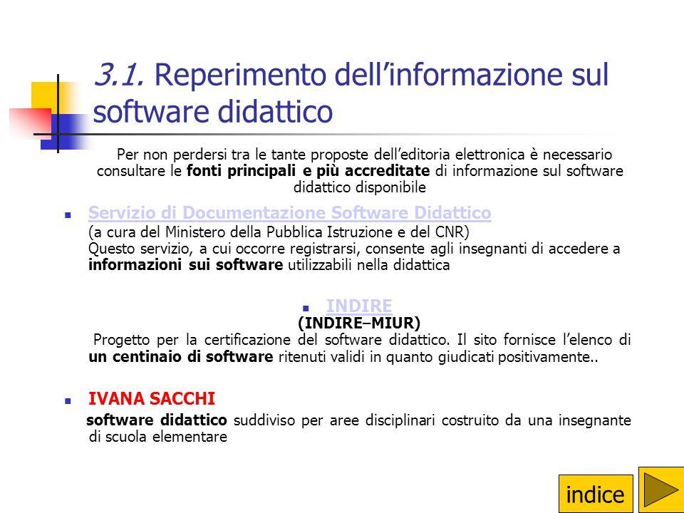 3.1. Reperimento dell'informazione sul software didattico