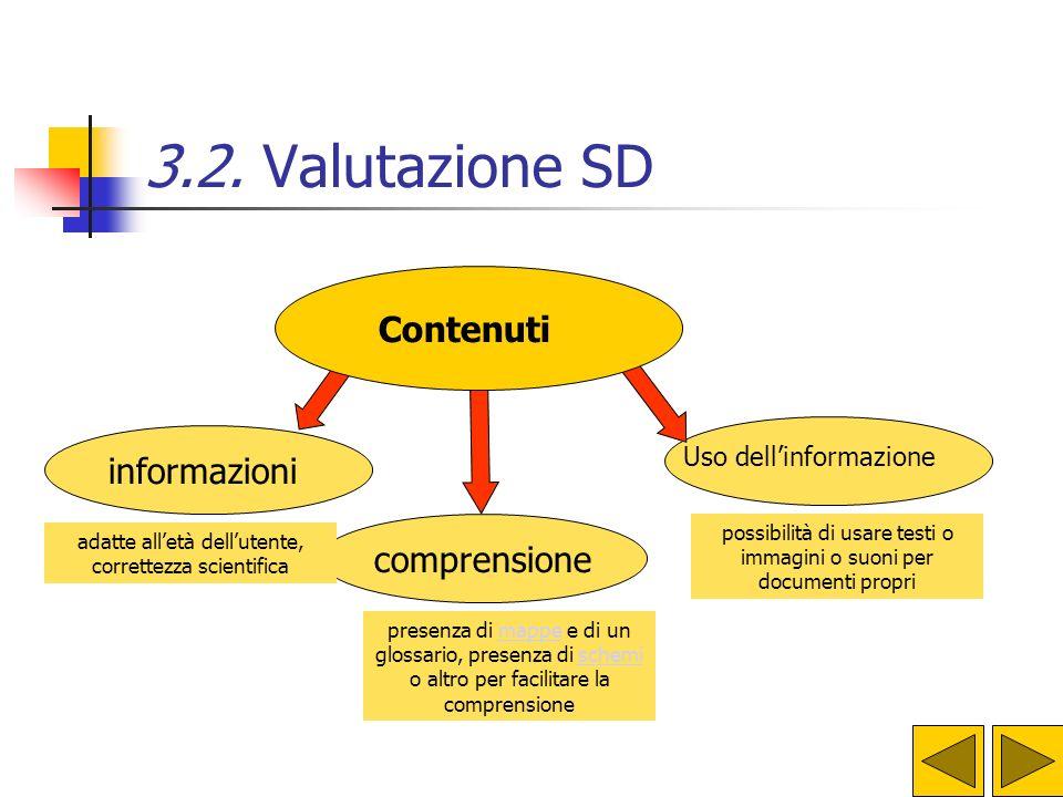 3.2. Valutazione SD Contenuti informazioni comprensione