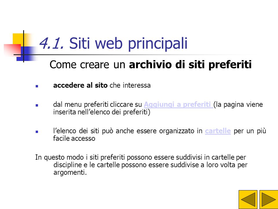 Come creare un archivio di siti preferiti