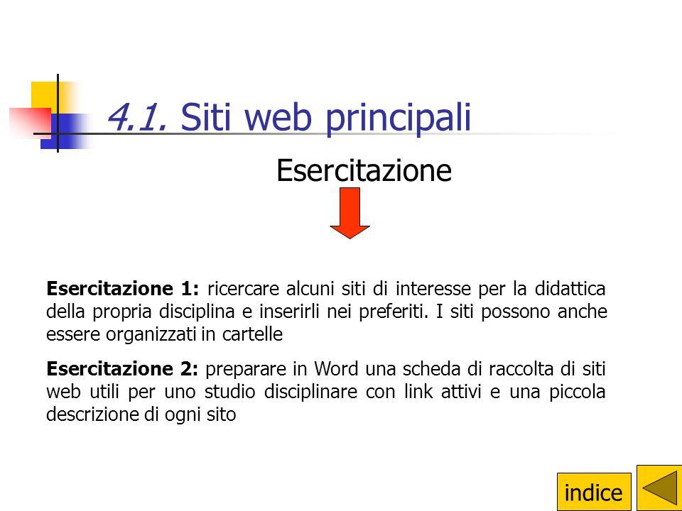 4.1. Siti web principali Esercitazione indice