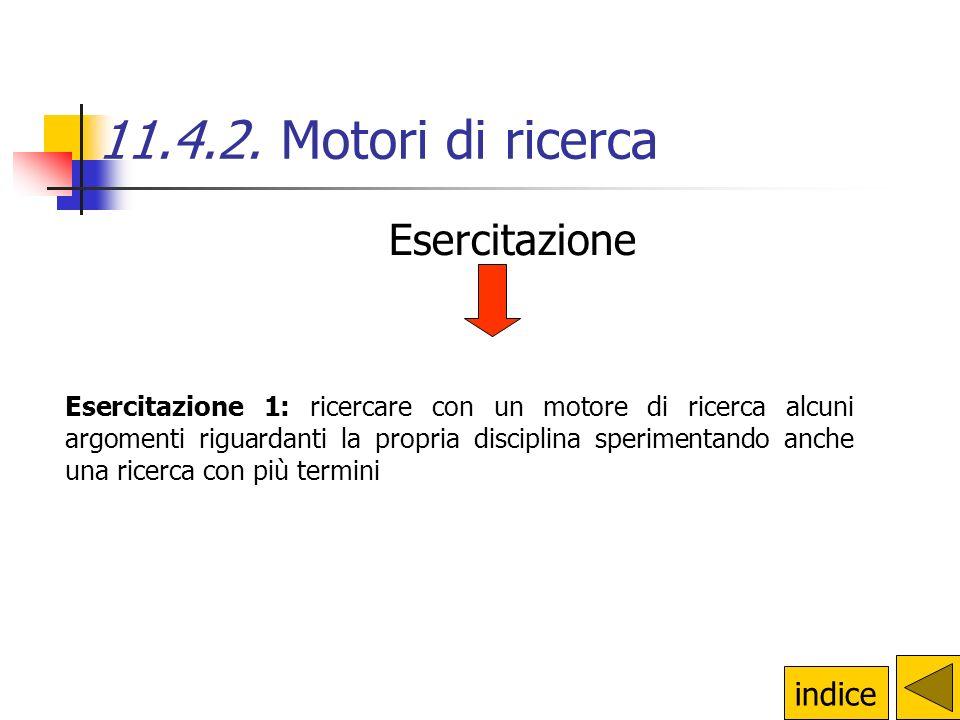 11.4.2. Motori di ricerca Esercitazione indice