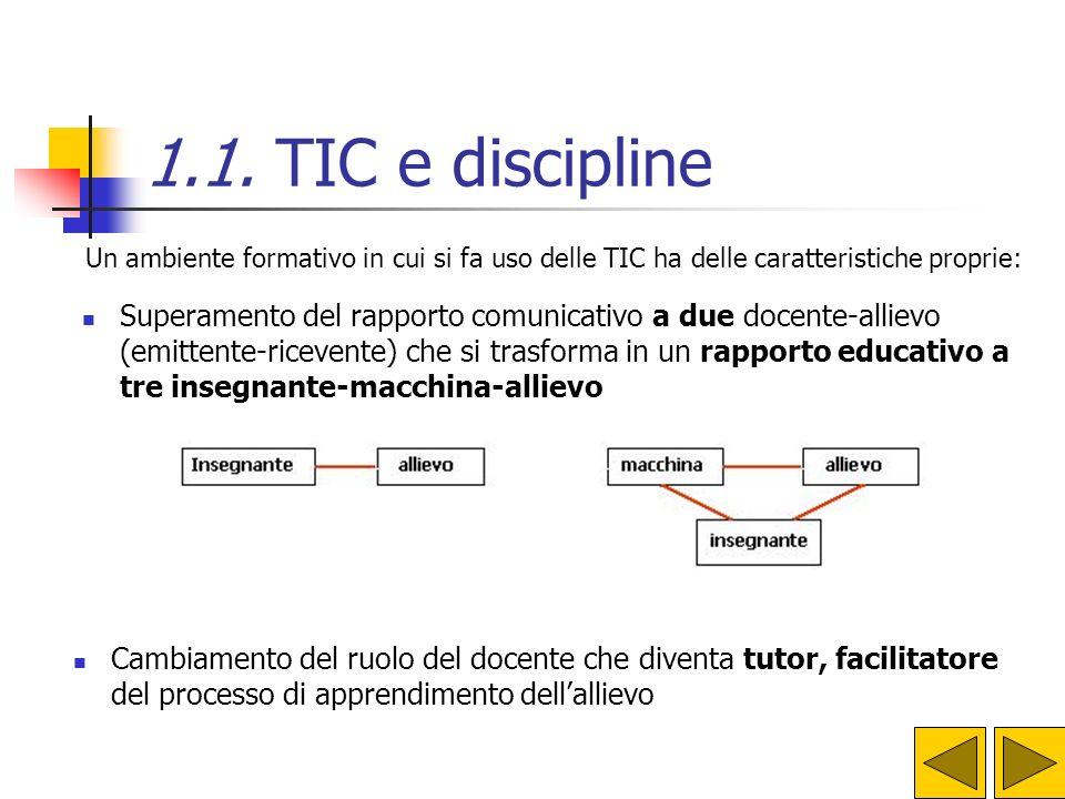 1.1. TIC e discipline Un ambiente formativo in cui si fa uso delle TIC ha delle caratteristiche proprie: