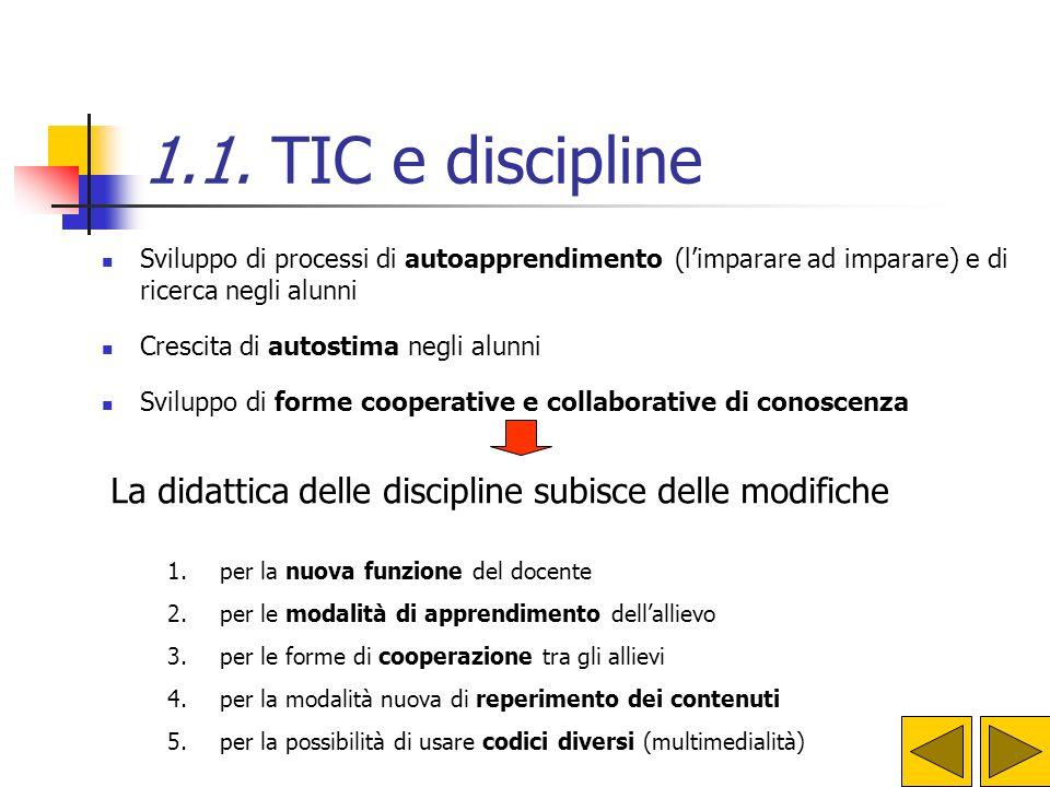 1.1. TIC e discipline Sviluppo di processi di autoapprendimento (l'imparare ad imparare) e di ricerca negli alunni.