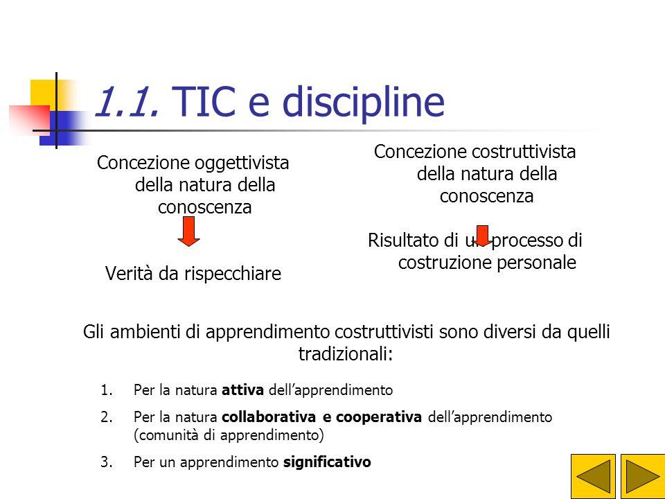 1.1. TIC e discipline Concezione costruttivista della natura della conoscenza. Risultato di un processo di costruzione personale.