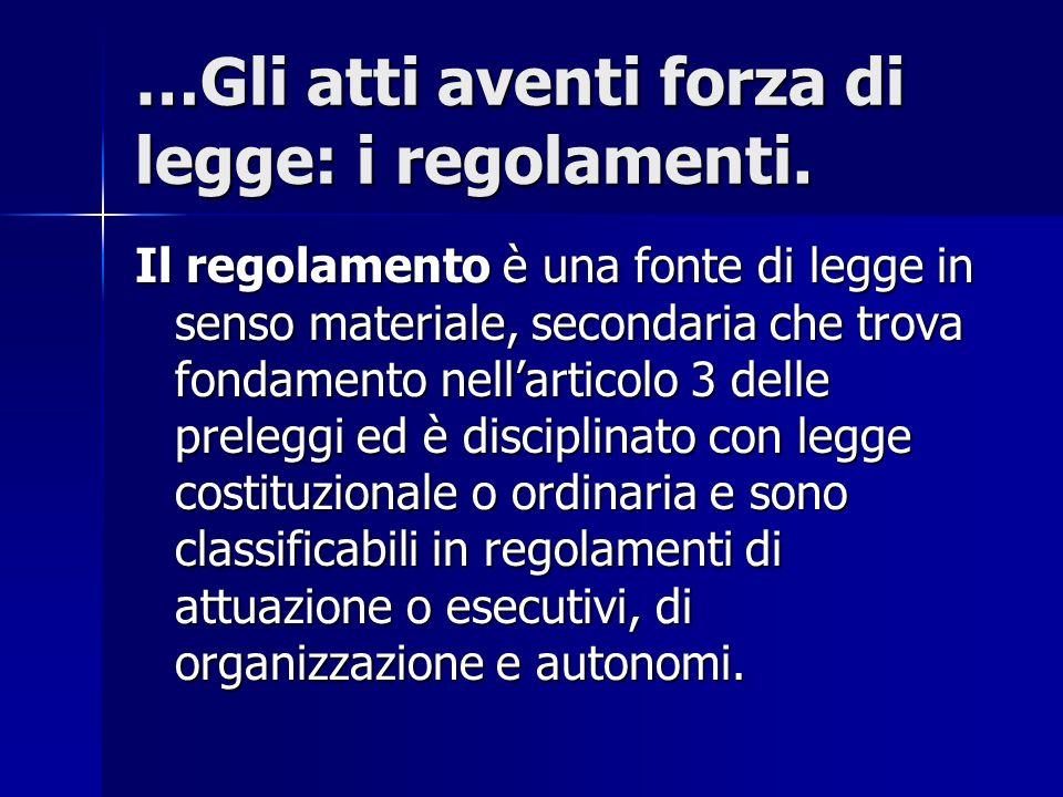 …Gli atti aventi forza di legge: i regolamenti.