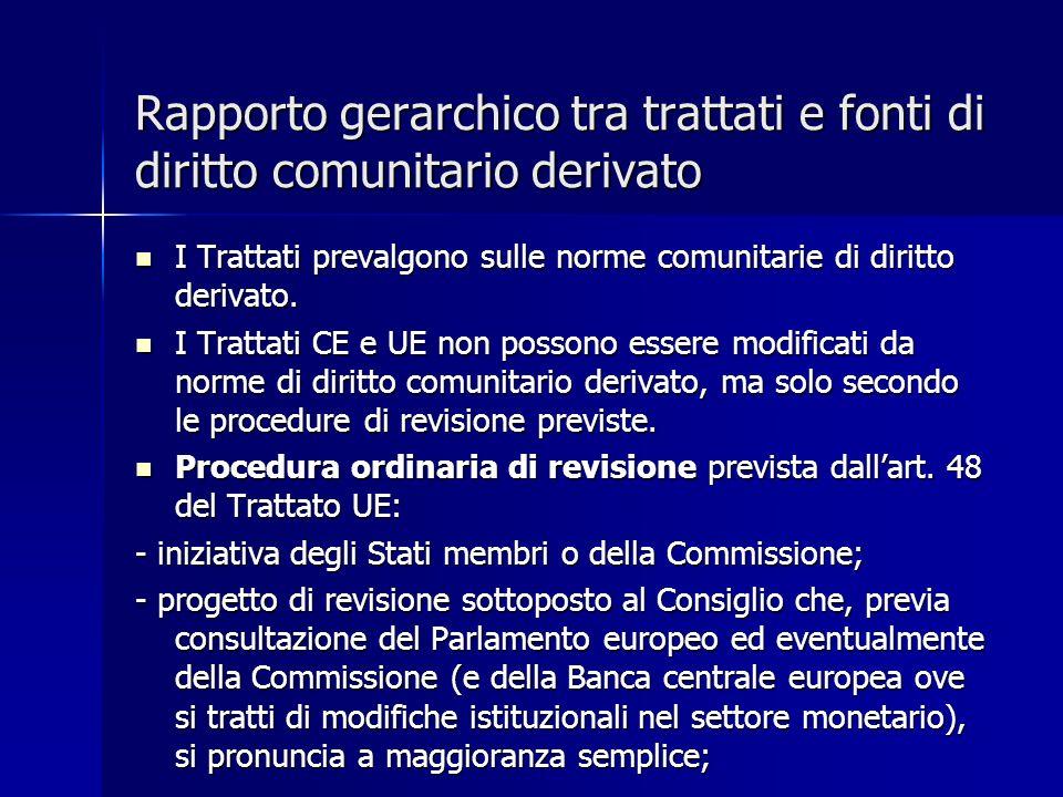 Rapporto gerarchico tra trattati e fonti di diritto comunitario derivato