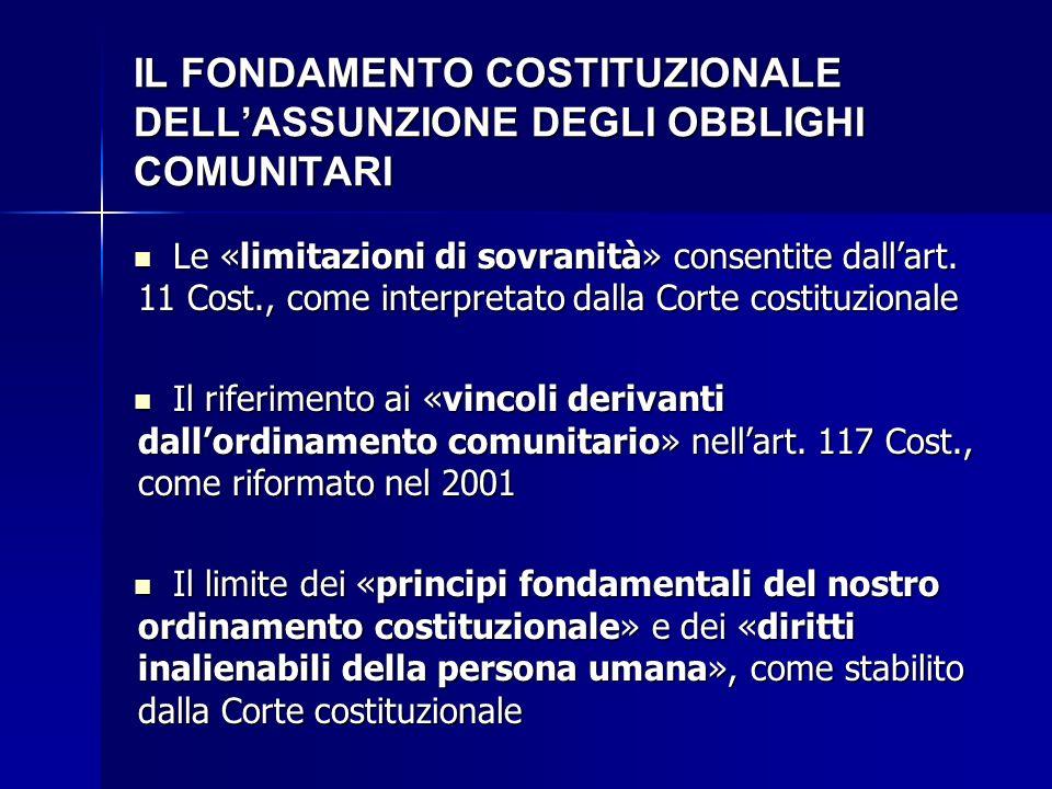 IL FONDAMENTO COSTITUZIONALE DELL'ASSUNZIONE DEGLI OBBLIGHI COMUNITARI