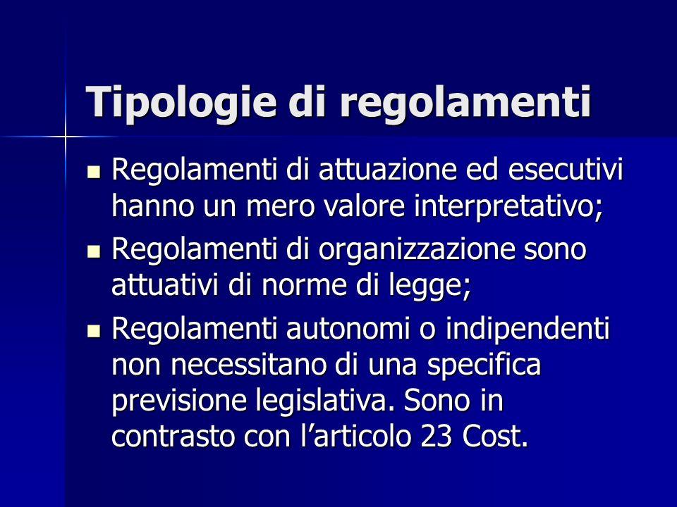 Tipologie di regolamenti
