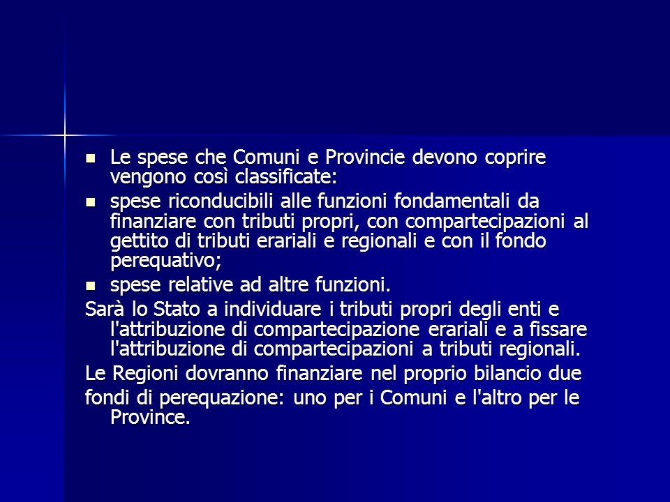 Le spese che Comuni e Provincie devono coprire vengono così classificate: