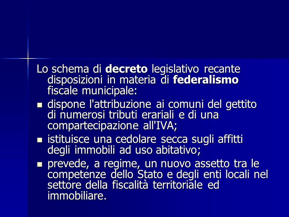 Lo schema di decreto legislativo recante disposizioni in materia di federalismo fiscale municipale: