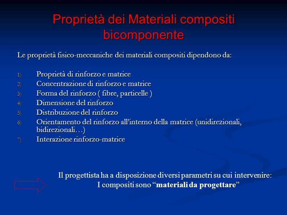 Proprietà dei Materiali compositi bicomponente