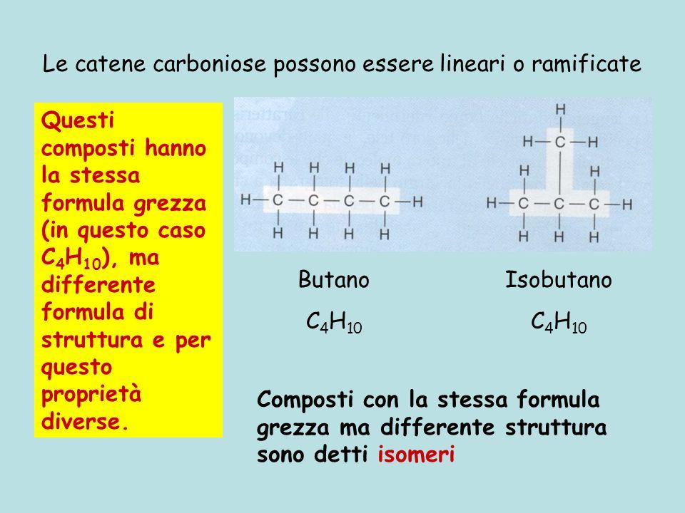 Le catene carboniose possono essere lineari o ramificate