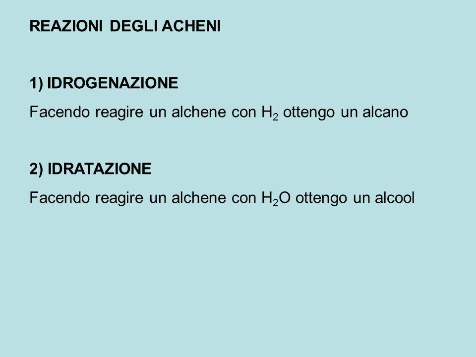REAZIONI DEGLI ACHENI IDROGENAZIONE. Facendo reagire un alchene con H2 ottengo un alcano. 2) IDRATAZIONE.