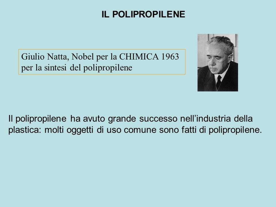 IL POLIPROPILENE Giulio Natta, Nobel per la CHIMICA 1963. per la sintesi del polipropilene.