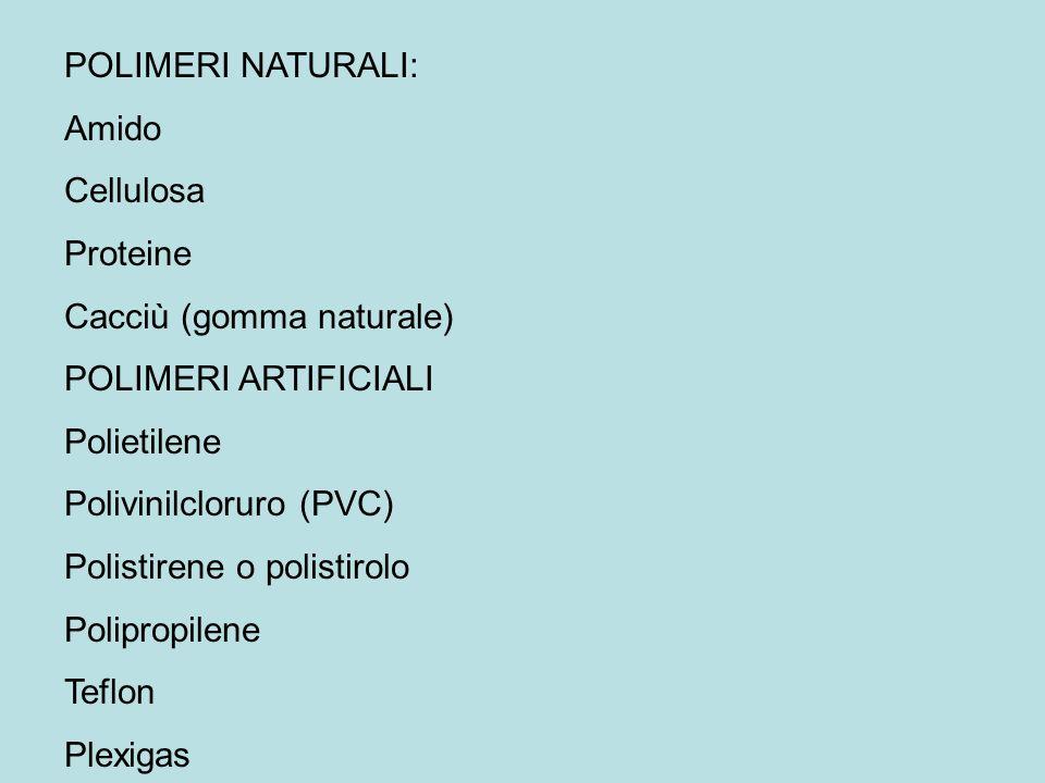 POLIMERI NATURALI: Amido. Cellulosa. Proteine. Cacciù (gomma naturale) POLIMERI ARTIFICIALI. Polietilene.