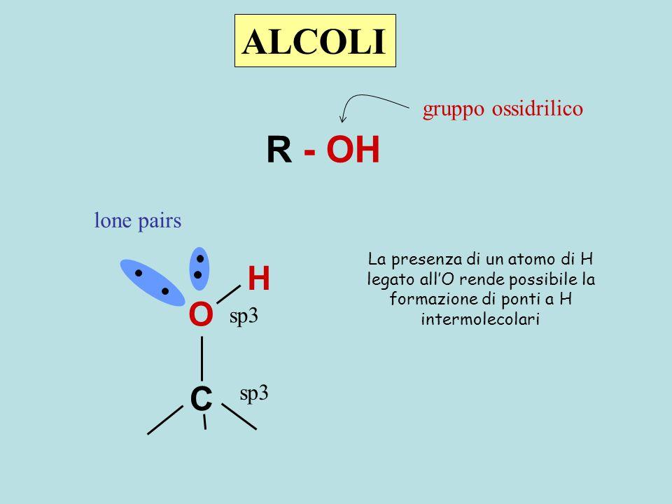 ALCOLI R - OH H O C gruppo ossidrilico lone pairs sp3 sp3